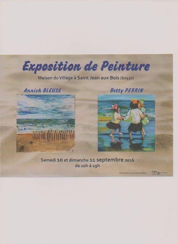 Annick et Betty, 2 membres de l'atelier dessin exposent à St Jean aux Bois